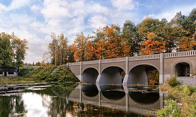 Akron Falls Photograph - Reflection Bridge by Peter Chilelli