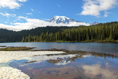 Photograph - Reflection Lakes In Mount Rainier National Park by David Gn