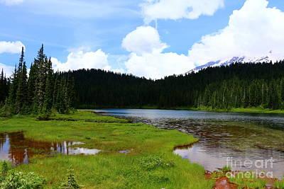 Mountain Reflection Lake Summit Mirror Photograph - Reflection Lakes  - Mount Rainier by Christiane Schulze Art And Photography
