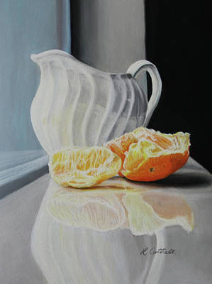 Pastel - Reflection Of An Orange by Laura Cottrell