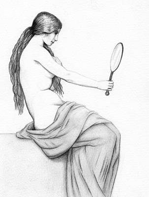 Female Drawing - Reflection Of Beauty by Stevie the floating artist