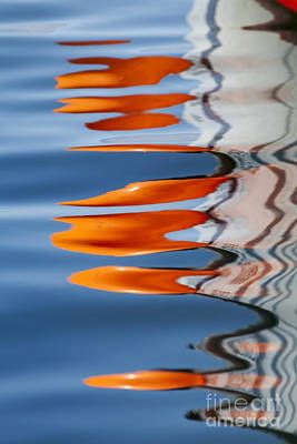 Photograph - Water Reflection Of Orange Blobs And Black Zig Zagging Lines by Sharon Foelz