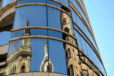 Photograph - Reflection Of Cathedral On Modern Building Windows Belgrade Serbia by Imran Ahmed