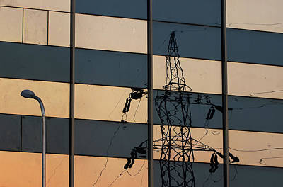 Photograph - Reflection Of Electricity Tower by Prakash Ghai