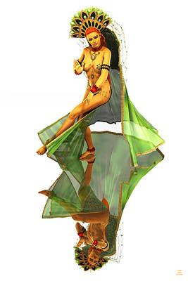 Kali Digital Art - Reflection Of Golden Kali Dancer by Grant Prescott