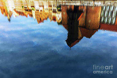 Featured Tapestry Designs - Reflection of historical Zuraw crane in Motlawa river in Gdansk by Michal Bednarek