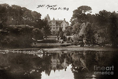 Photograph - Reflection Of Hotel Del Monte  Reflection In The Lake 1913 by California Views Mr Pat Hathaway Archives