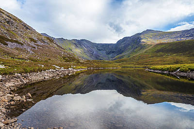 Art Print featuring the photograph Reflection Of Macgillycuddy's Reeks And Carrauntoohil In Lough E by Semmick Photo