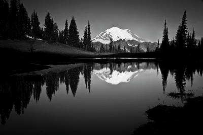 Black White Photograph - Reflection Of Mount Rainer In Calm Lake by Bill Hinton Photography