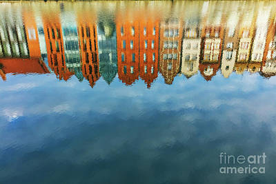 Photograph - Reflection Of Old Town Buildings In Motlawa River. by Michal Bednarek