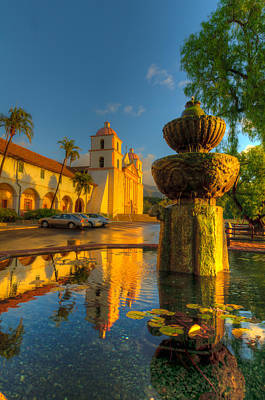 Photograph - Reflection Of Santa Barbara Mission by Connie Cooper-Edwards
