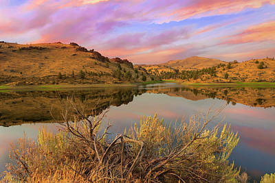 Reflection Of Scenic High Desert Landscape In Central Oregon Art Print