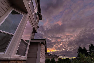 Photograph - Reflection Of Sunset On House Windows by Jit Lim