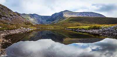 Art Print featuring the photograph Reflection Of The Macgillycuddy's Reeks In Lough Eagher by Semmick Photo