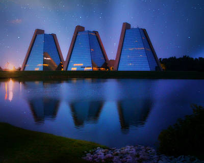 Photograph - Reflection Of Three Pyramids by Kathy M Krause