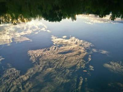 Photograph - Reflection Of Upside Down Lake And Shore by Kathy Barney
