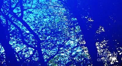 Photograph - Reflection On A Blue Automobile 3 by Sarah Loft