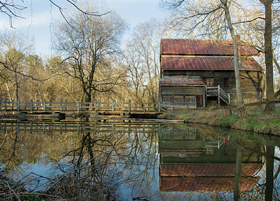 Reflection On A Grist Mill Art Print by George Randy Bass