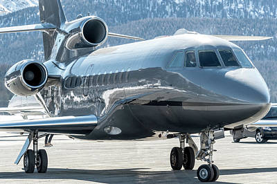 Commercial Photograph - Reflection Over Dassault Falcon 900 by Roberto Chiartano