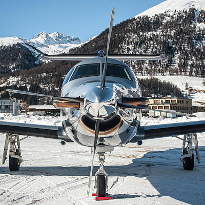 Commercial Photograph - Reflection Pilatus Pc12 Oh-jrd Frontal by Roberto Chiartano