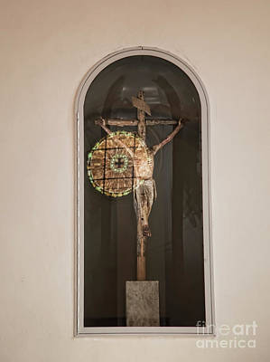 Photograph - Reflection Stain Glass Window Cross  by Chuck Kuhn