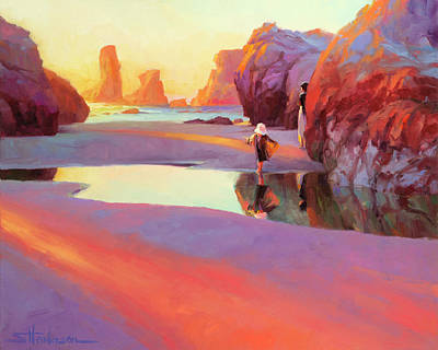 Beach Oil Painting - Reflection by Steve Henderson