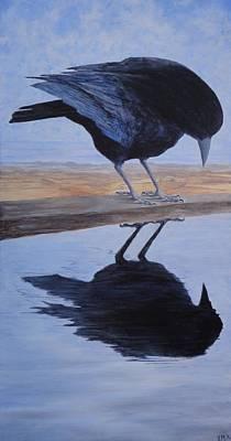 Medicine Crow Painting - Reflection by Xochi Hughes Madera