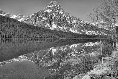 Photograph - Reflections Along The Show Of Waterfowl Lakes Black And White by Adam Jewell