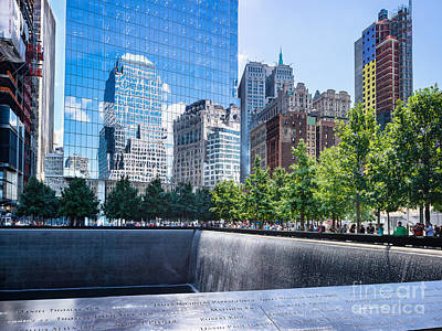 Photograph - Reflections At 911 Memorial by John Waclo