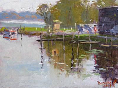 Marina Painting - Reflections At Ashville Bay Marina by Ylli Haruni