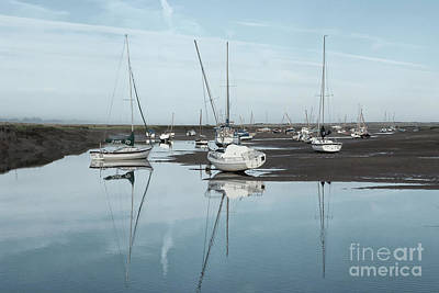 Dinghy Photograph - Reflections At Brancaster Staithe Norfolk by John Edwards