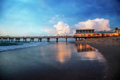 Photograph - Reflections At Dawn At The Pier by Debra and Dave Vanderlaan