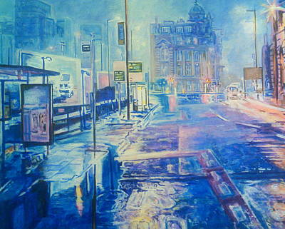 Painting - Reflections At Night In Manchester by Rosanne Gartner