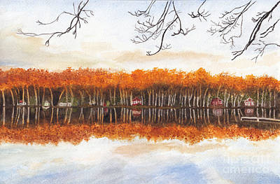 Painting - Reflections At Sunrise On Bitely Lake by Conni Schaftenaar