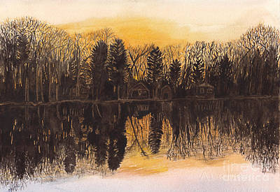 Tree Reflection At Sunset Painting - Reflections At Sunset On Bitely Lake by Conni Schaftenaar
