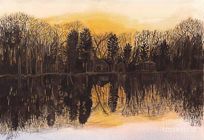 Reflections At Sunset On Bitely Lake Art Print