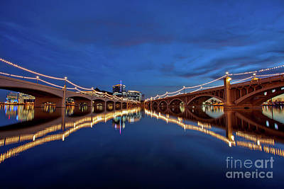 Photograph - Reflections At The Mill Avenue Bridges On Tempe Town Lake by Sam Antonio Photography