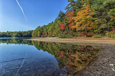 Thoreaus Cabin Photograph - Reflections At Walden Pond by Brian MacLean