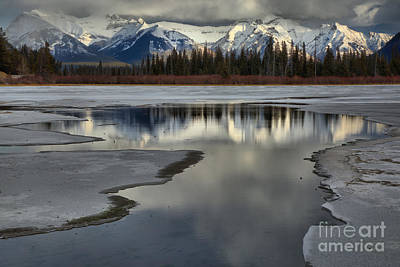 Photograph - Reflections Betwen The Vermilion Lakes Ice by Adam Jewell