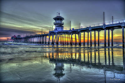Photograph - Reflections From Afar Huntington Beach Pier Sunset Los Angeles Collection Art by Reid Callaway