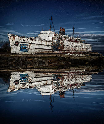 Reflections From The Duke Of Lancaster Ship  Art Print