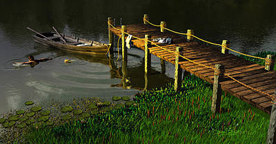 Rowboat Digital Art - Reflections In A Restless Pond by Dieter Carlton