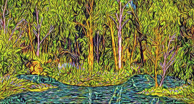 Digital Art - Reflections In Deep Forest by Joel Bruce Wallach
