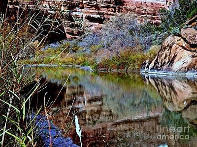 Reflections In Desert River Canyon Art Print by Annie Gibbons