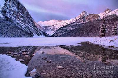 Photograph - Reflections In Frozen Lake Louise by Adam Jewell