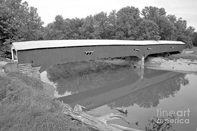 Photograph - Reflections In Sugar Creek Black And White by Adam Jewell