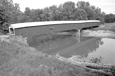 Photograph - Reflections In Sugar Creek Indiana Black And White by Adam Jewell