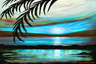 Painting - Reflections In Teal - Landscape Sunset by Gina De Gorna
