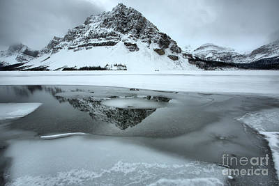 Photograph - Reflections In The Bow Lake Icy Waters by Adam Jewell