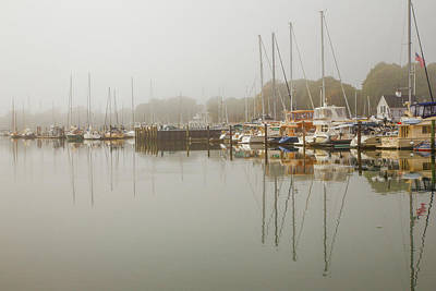 Boats In Reflecting Water Photograph - Reflections In The Fog by Karol Livote